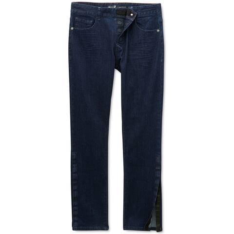 Seven 7 Mens Power Stretch Straight Leg Jeans, blue, 38W x 30L - 38W x 30L