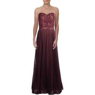 Link to Tadashi Shoji Womens Evening Dress Chiffon Lace - Dark Purple/Nude Similar Items in Dresses