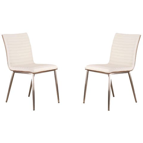 Horizontally Tufted Leatherette Dining Chair with Metal Legs,Set of 2,White