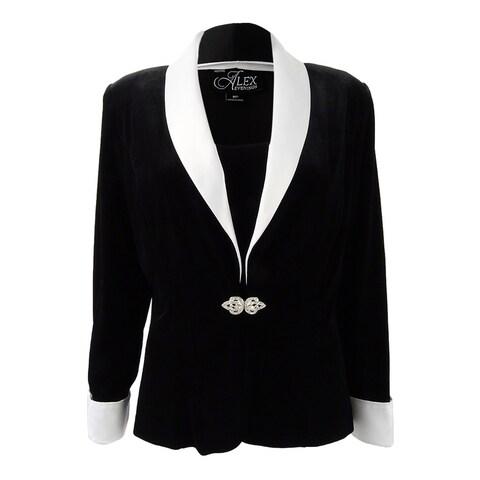 Alex Evenings Women's Petite Velvet & Satin Jacket & Shell - BLACK/WHITE