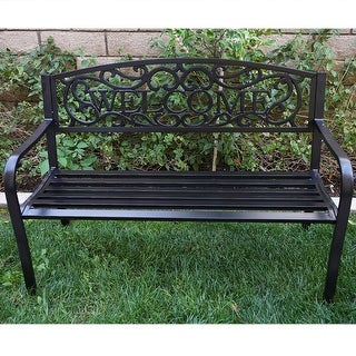 "Belleze 50"" Blossoming Garden Decorative Patio Park Bench, Black"