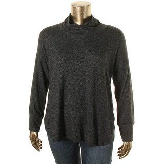 Bobeau Womens Plus Pullover Sweater Heathered Long Sleeve