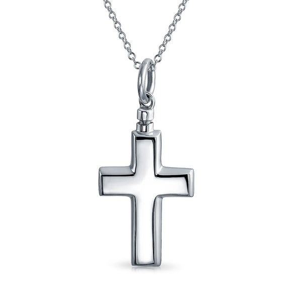76c19cabe85 Shop Simple Hollow Cremation Locket Memorial Urn Cross Pendant Necklaces  For Women For Men Ashes Holder 925 Sterling Silver - On Sale - Free  Shipping Today ...