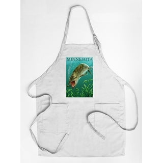 Minnesota - Muskie Scene - Lantern Press Artwork (Cotton/Polyester Chef's Apron)