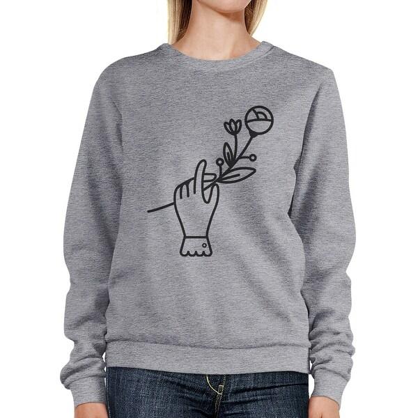 Hand Holding Flower Gray Sweatshirt Lovely Design Pullover Fleece