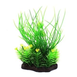 "6.3"" Height Aquarium Artificial Green Aquatic Plant Decor w Yellow Flowers"