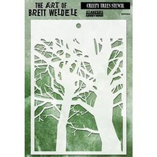"Creepy Trees - Brett Weldele Stencil Collection 6.5""X4.5"""