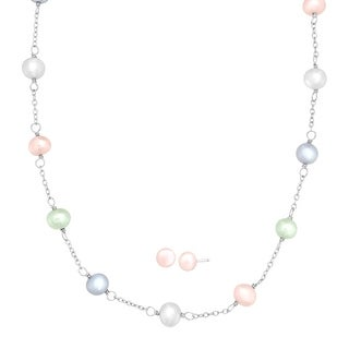 Girl's 6 mm Freshwater Pearl Necklace & Earring Set in Sterling Silver - multi-color