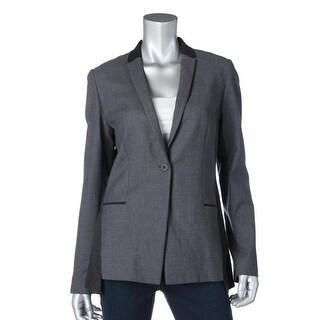 Elie Tahari Womens Lindley Wool Contrast Trim One-Button Blazer - 8