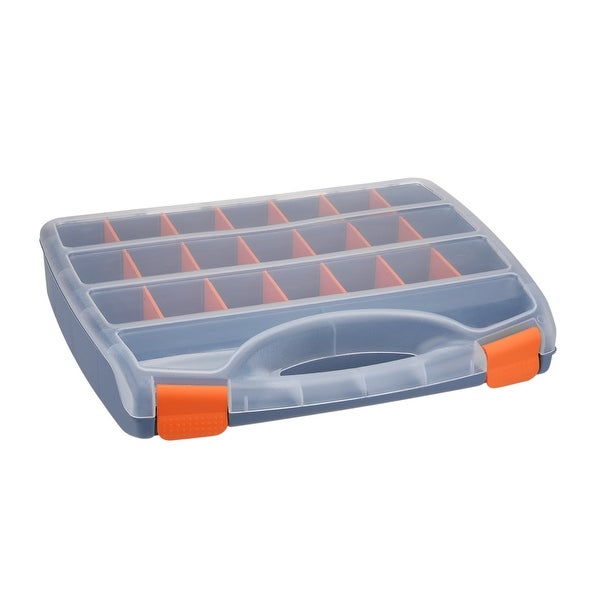 15-inch Tool Box with Tray and Organizers Includes 23 Small Parts Boxes