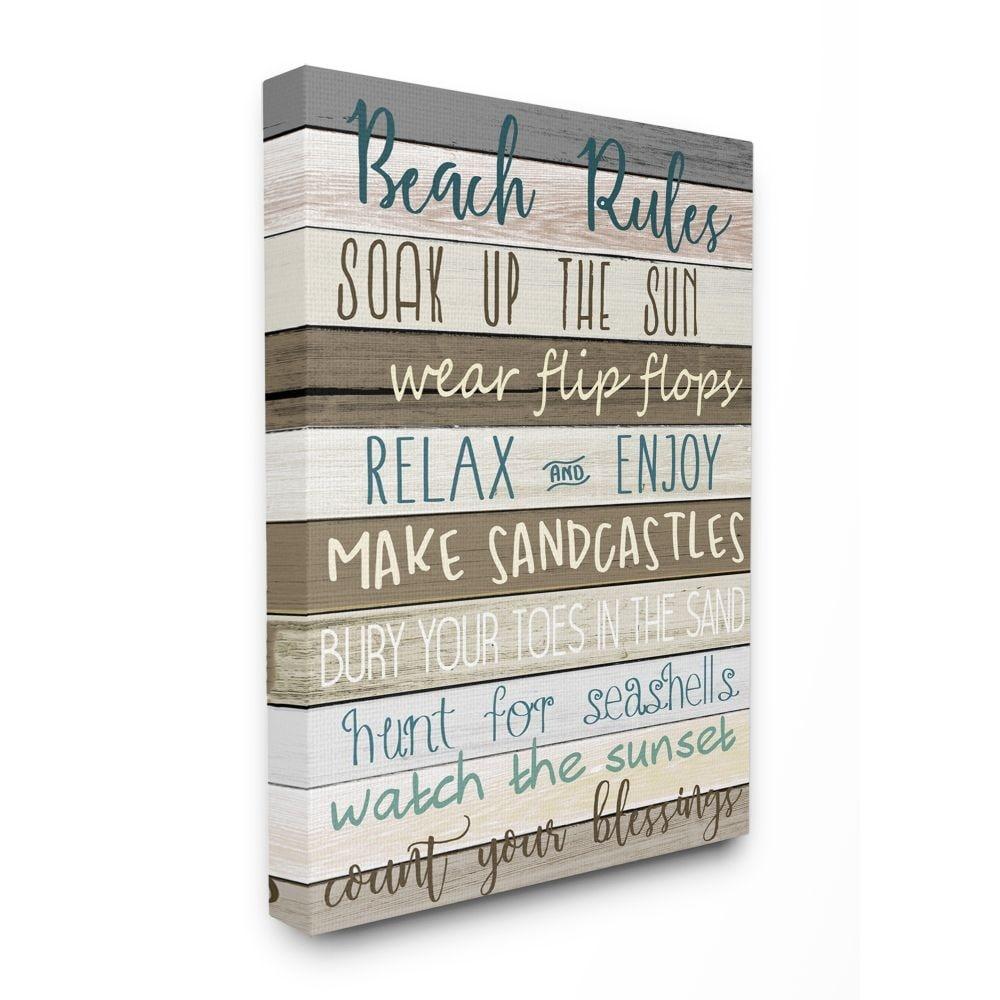 Stupell Industries Nautical Fun Beach Rules List Rustic Boardwalk Sign Canvas Wall Art Brown Overstock 31604104