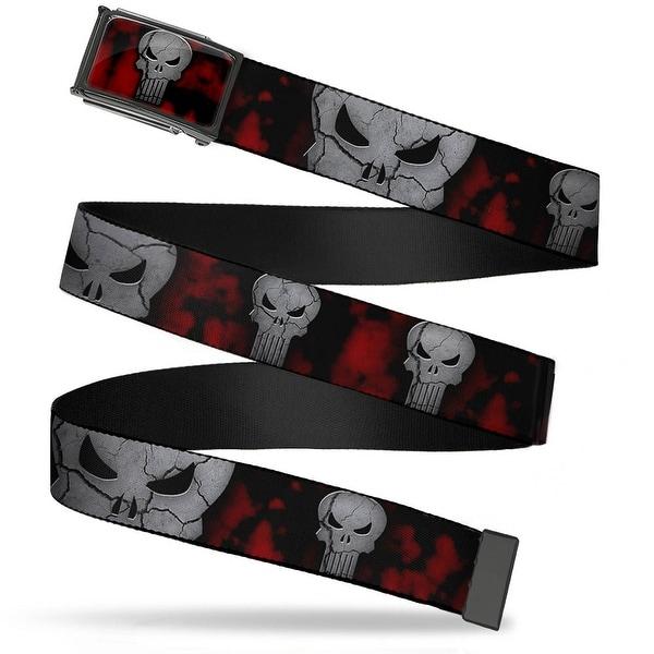 Marvel Universe Stone Punisher Logo Fcg Bk Red Gray Chrome Stone Web Belt