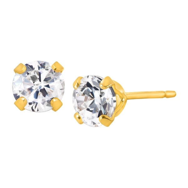 3/4 ct Stud Earrings with Cubic Zirconia in 14K Gold-Plated Sterling Silver
