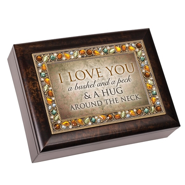 "8"" Brown and Amber Love Quotes Accented Music Box - N/A"
