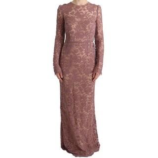 Dolce & Gabbana Dolce & Gabbana Pink Floral Lace Sheath Long Dress - it40-s