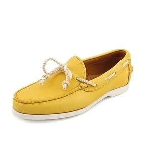 Ralph Lauren Thad Men  Moc Toe Leather  Boat Shoe