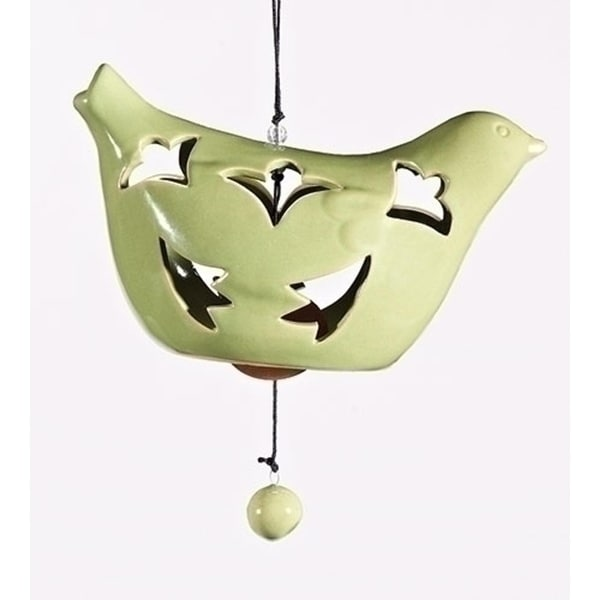"6.5"" Green Porcelain Hanging Bird Bell Outdoor Garden Wind Chime Decoration"