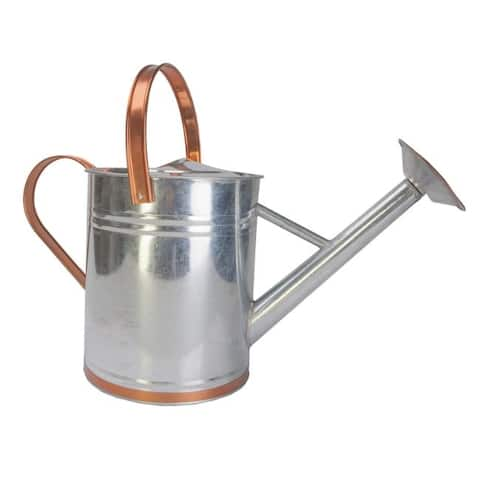Panacea Copper/Silver 2 gal. Galvanized Steel Watering Can - 9 x 19.6 x 11