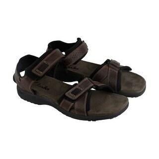 Clarks Keating Mens Brown Leather Flip Flops Slip On Sandals Shoes