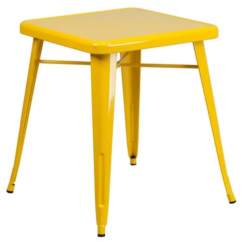 "23.75'' Square Metal Indoor-Outdoor Table - 27.75""W x 27.75""D x 29""H"
