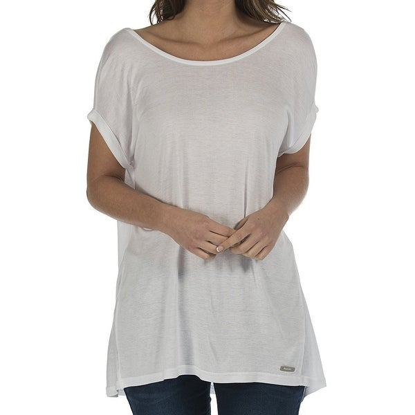 Bench NEW Bright White Women's Size Small S Boat-Neck Cuffed Solid Blouse