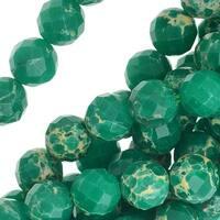 Impression Jasper Gemstone, Faceted Round Beads 8mm, 16 Inch Strand, Teal Green