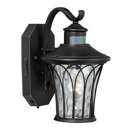 "Vaxcel Lighting T0123 Abigail 1 Light 8"" Wide Outdoor Wall Sconce with Motion Sensor Included - textured black"