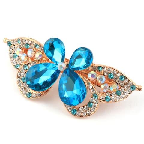 Lady Metal Butterfly Design Rhinestone Inlaid Decor French Hair Clip Barrette - Blue,Silver Tone,Gold Tone