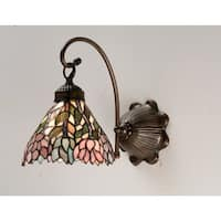 "Meyda Tiffany 18721 Wisteria 7"" Wide 1-Light Wall Sconce with Stained Glass Shade - Mahogany Bronze"