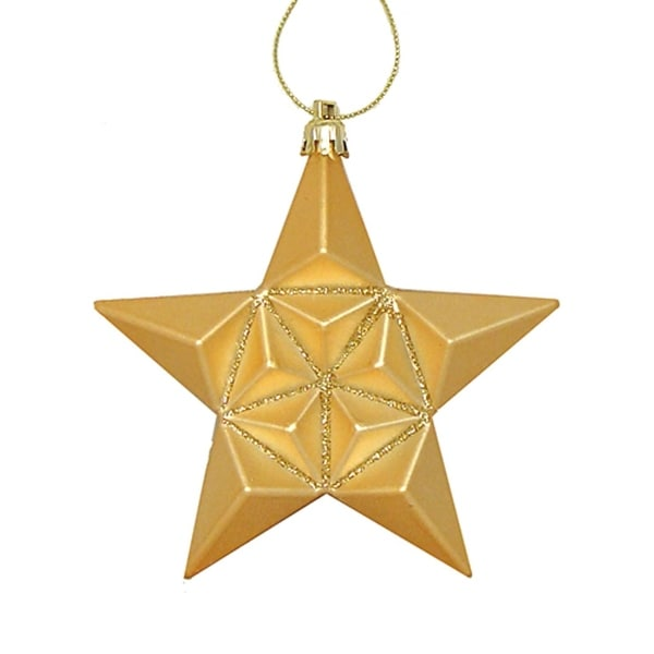 12ct Matte Vegas Gold Glittered Star Shatterproof Christmas Ornaments 5""