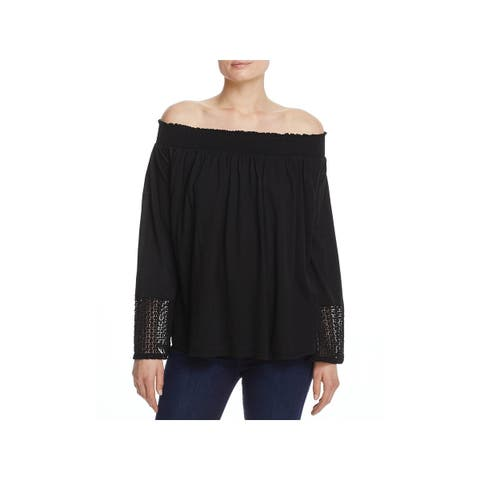 Three Dots Womens Casual Top Lace-Trim Off-The-Shoulder