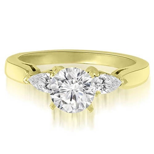 1.00 cttw. 14K Yellow Gold Round And Pear Three-Stone Diamond Engagement Ring