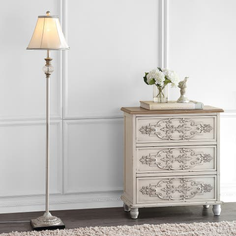"SAFAVIEH Lighting 61-inch Antiqued Floral Wood Floor Lamp - 13""x13""x61"""
