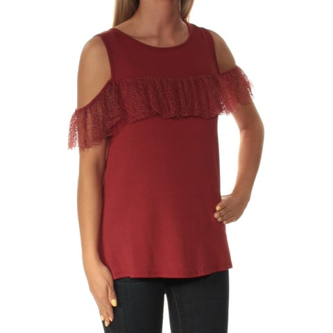Womens Brown Short Sleeve Jewel Neck Casual Top Size S