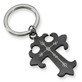 Chisel Black Plated Cross Stainless Steel Key Ring