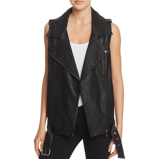 Signature Womens Vest Faux Leather Sequined