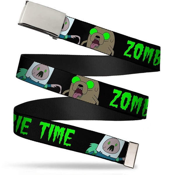 "Blank Chrome 1.0"" Buckle Finn & Jake Zombie Time Black Green Webbing Web Belt 1.0"" Wide - S"