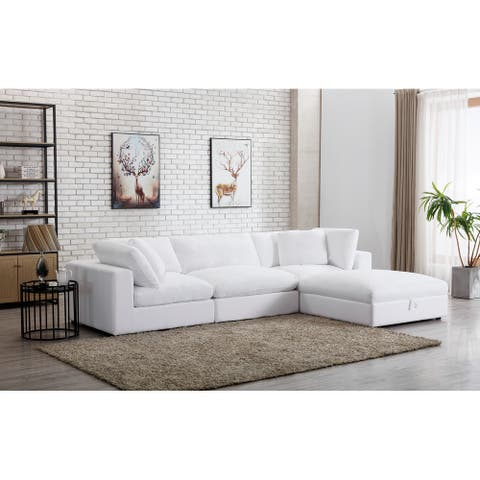 Rivas Contemporary Feather Fill 4-Piece Modular Sectional Sofa