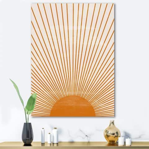 Designart 'Orange Sun Print III' Modern Canvas Wall Art Print