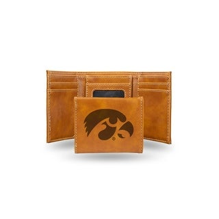 "4"" Brown College Iowa Hawkeyes Laser Engraved Trifold Wallet - N/A"