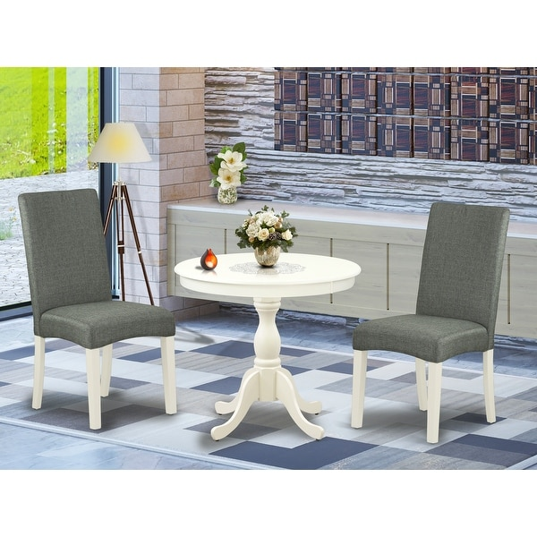 3 Piece Kitchen Table Set 1 Modern Dining Table And 2 Grey Dining Chairs Linen White Finish Pieces Option Overstock 33559800