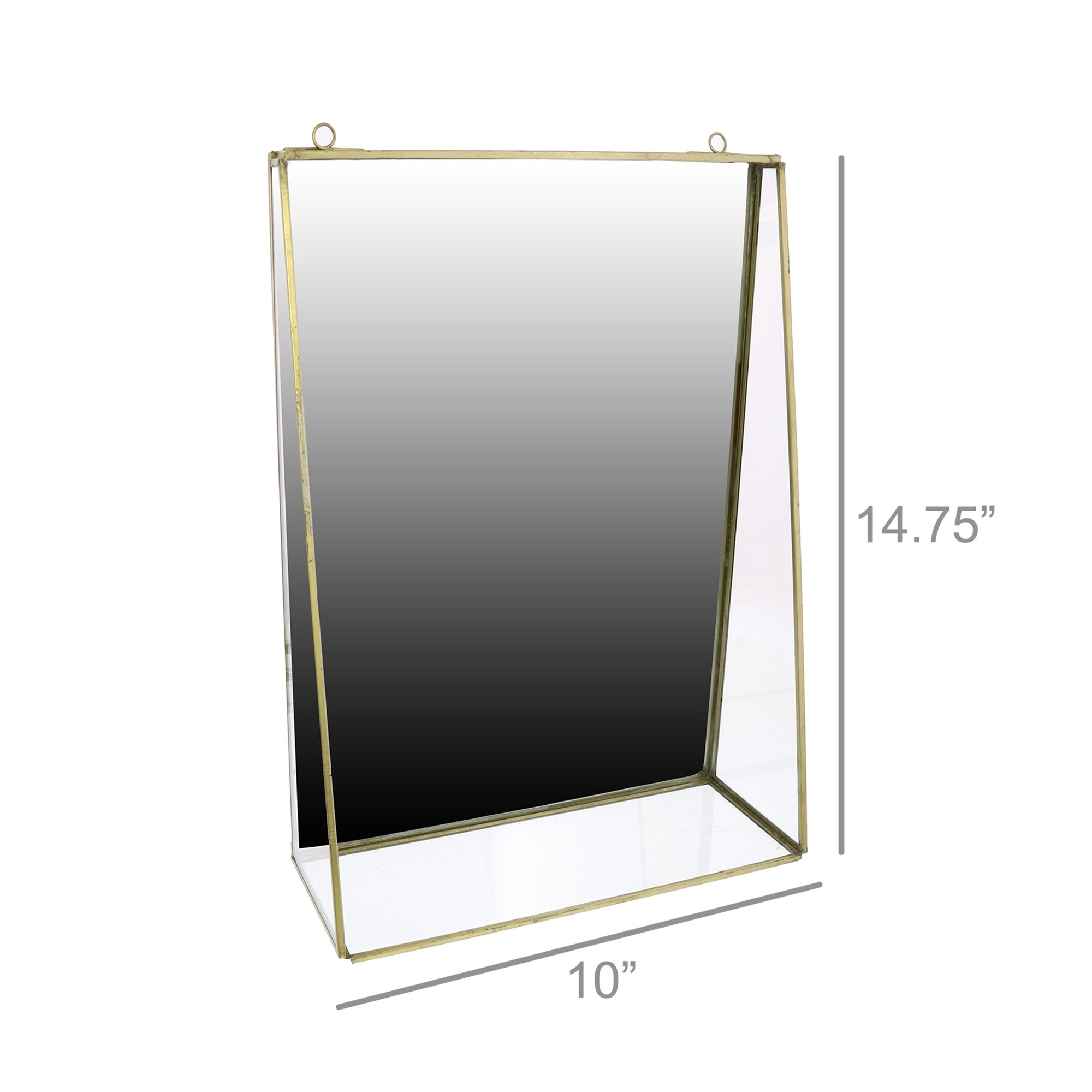 Metal Wall Shelf With Rectangular Mirror And Ring Holder Large Silver Overstock 31937800