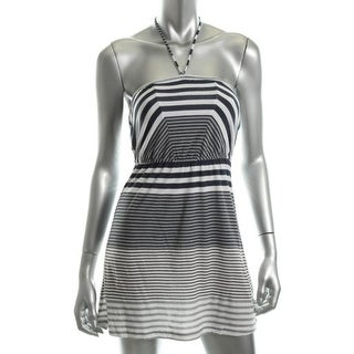 Hurley Womens Horizons Striped Halter Sleeves Sundress - XL