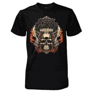 Harley-Davidson Men's Skull Pipes Short Sleeve Tall T-Shirt, Solid Black (Option: 3xlt)