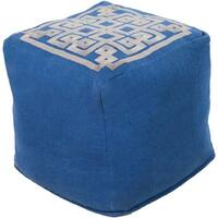 "18"" Royal Blue and Light Gray Maize Top Linen Square Pouf Ottoman"