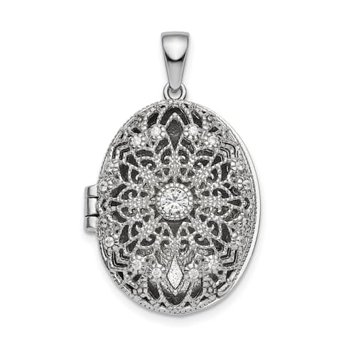 Sterling Silver Rhodium-plated CZ Oval Filigree Locket with 18-inch Cable Chain By Versil