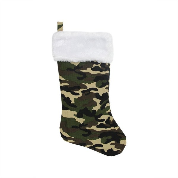 """18"""" Green Army Camouflage Christmas Stocking with White Faux Fur Cuff"""