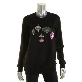 Markus Lupfer Womens Ornament Baubles Holiday Sequined Sweatshirt - S