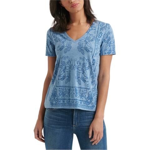 Lucky Brand Womens Bandana Basic T-Shirt, Blue, X-Small
