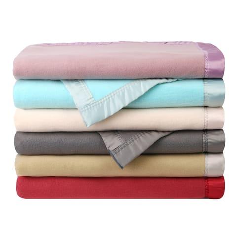 Lightweight Blanket with Satin Trim